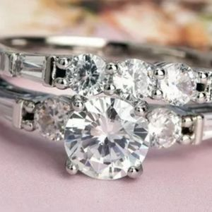 White Sapphire Sterling Silver Wedding Set